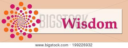Wisdom text written over pink orange background.