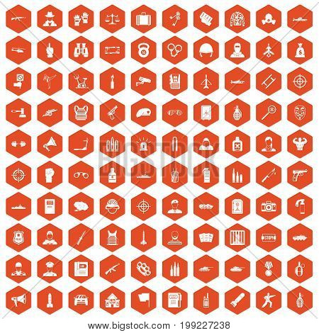 100 officer icons set in orange hexagon isolated vector illustration