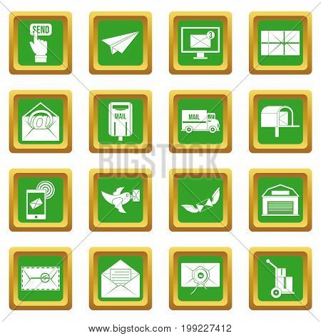 Poste service icons set in green color isolated vector illustration for web and any design