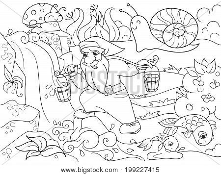 Childrens coloring. Forest, a magic dwarf is picking up water in a creek. For adults illustration. Anti-stress for adult. Black and white lines