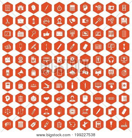 100 office work icons set in orange hexagon isolated vector illustration