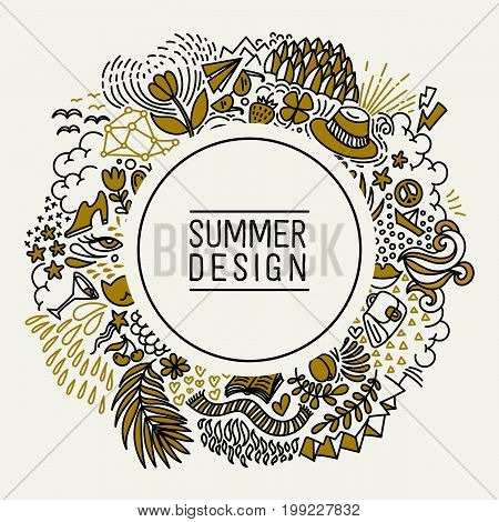 Summer black and gold hand drawn round thin line postcard. Seasonal greeting with word Summer. Doodle summer card with floral elements, flowers, sun, bird, clouds, leaves. Vector illustration.