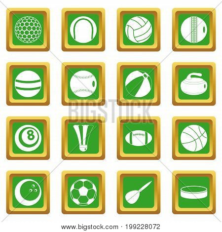 Sport balls icons set in green color isolated vector illustration for web and any design