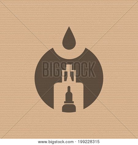 Vape store logo template design on the cardboard texture background. E-cigarette and e-liquid bottle stamp or T-shirt print. Stock vector