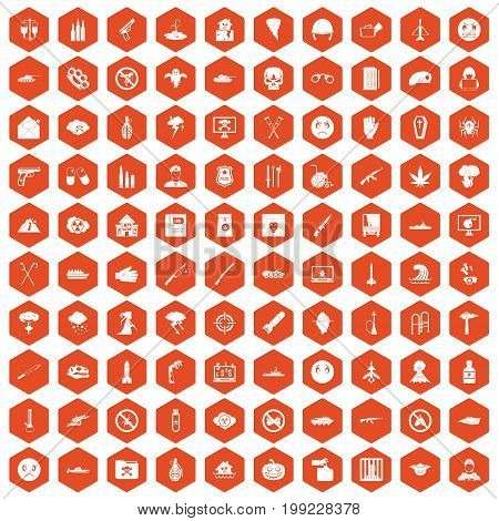 100 oppression icons set in orange hexagon isolated vector illustration