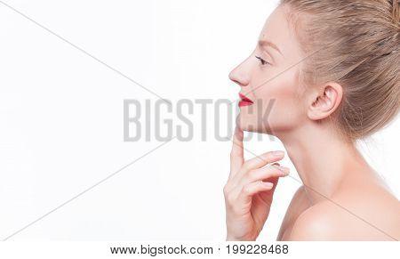 Beautiful Woman Touching Her Neck. Skin Care