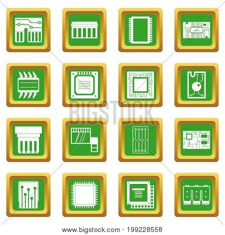 Computer chips icons set in green color isolated vector illustration for web and any design