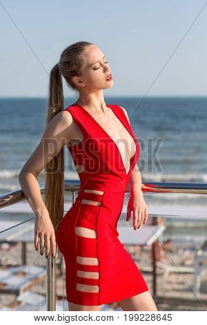 A gorgeous woman in a bright red dress on the background of the sea. The sexy and elegant lady with gathered hair is posing near the sea. The pretty girl in a red dress near the beach.