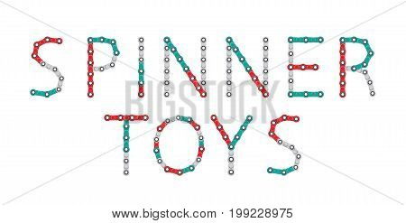 Word from Spinners. New popular anti-stress toy. Vector Illustration. EPS10