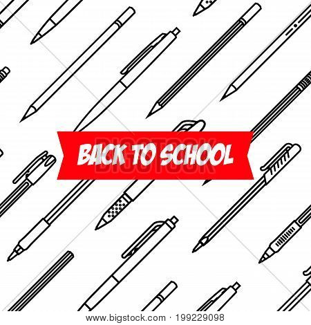 Stationery collection. Writing tools. Pens and Pencils pattern. Outline style. Pencil and pens thin line vector icons with diferent classic design. Back to school. Writing materials. Vector illustration Stationery collection. Vector illustration