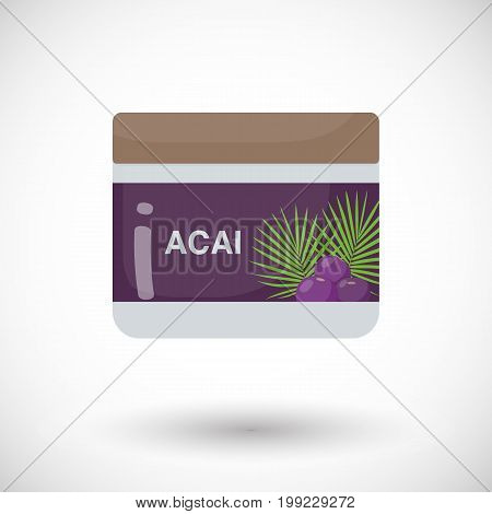 Acai berry beauty product vector flat icon Flat design of superfood or healthy eating object with round shadow isolated on the white background cute vector illustration with reflections