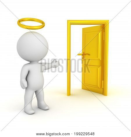 3D illustration of saint with a halo showing an opened door. Isolated on white.