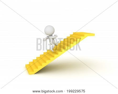 3D Character running on golden stairway. Isolated on white.