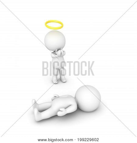 3D illustration of angel praying for sick person. Image relating to spiritual belief.