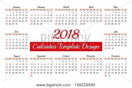 Calendar 2018 Daily Planner Template. To Do List Paper A4 Format. Business Style Vector Illustration. Organizer and Schedule with Place for Notes and Checklists