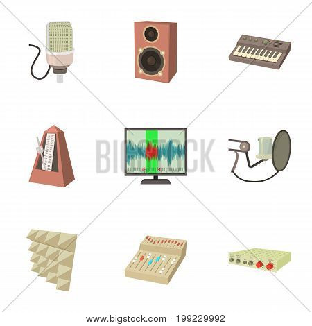 Sound recording studio icons set. Cartoon set of 9 sound recording studio vector icons for web isolated on white background