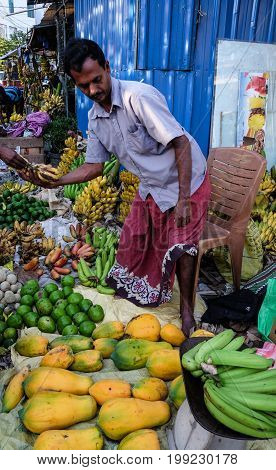 People At A Rural Market In Colombo, Sri Lanka