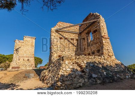 Ruins of old optical telegraph towers named Les Torretes near Calella - the semaphore towers were built in the mid-19th century. Catalonia Spain