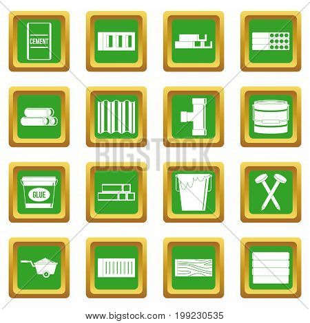 Building materials icons set in green color isolated vector illustration for web and any design
