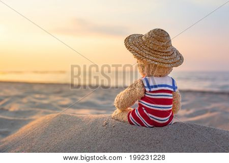 Rear view of little teddy bear, wear nostalgic striped swimsuit and straw hat, sitting at the beach sand and enjoy sunny evening mood at sea (copy space)
