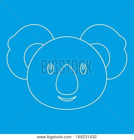 Koala icon blue outline style isolated vector illustration. Thin line sign