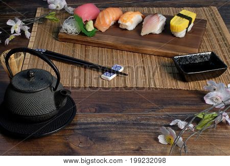 sushi Japanese food on wood background .