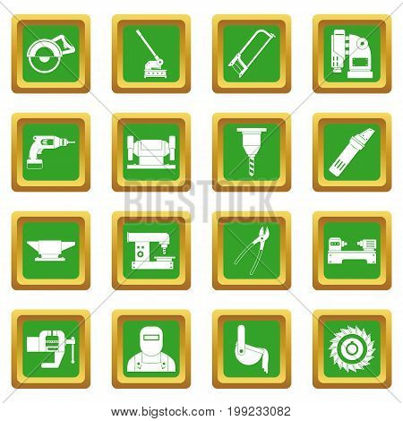 Metal working icons set in green color isolated vector illustration for web and any design