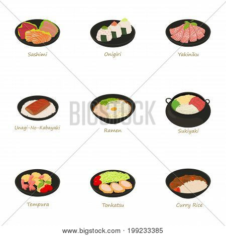 Sushi menu icons set. Cartoon set of 9 sushi menu vector icons for web isolated on white background