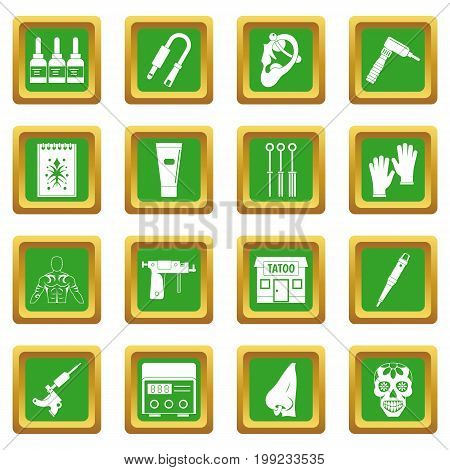 Tattoo parlor icons set in green color isolated vector illustration for web and any design
