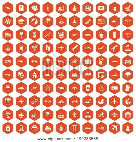 100 plane icons set in orange hexagon isolated vector illustration