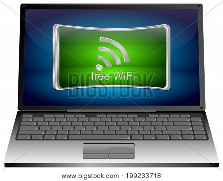 Laptop Computer with greenfree WiFi button - 3D illustration