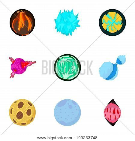 Alien world icons set. Cartoon set of 9 alien world vector icons for web isolated on white background