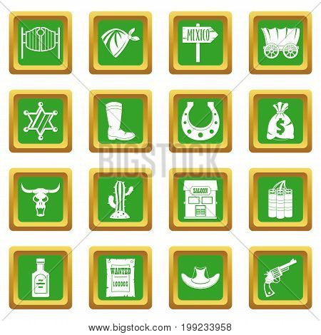 Wild west set design logo. Simple illustration of 16 wild west logo vector icons set in green color isolated vector illustration for web and any design