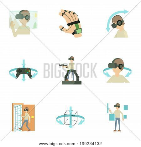 Virtual reality game icons set. Cartoon set of 9 virtual reality game vector icons for web isolated on white background