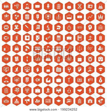 100 portfolio icons set in orange hexagon isolated vector illustration