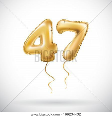Vector Golden Number 47 Forty Seven Metallic Balloon. Party Decoration Golden Balloons. Anniversary