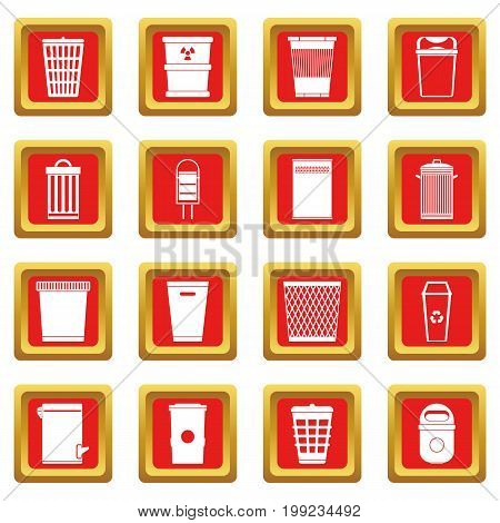 Trash can icons set in red color isolated vector illustration for web and any design