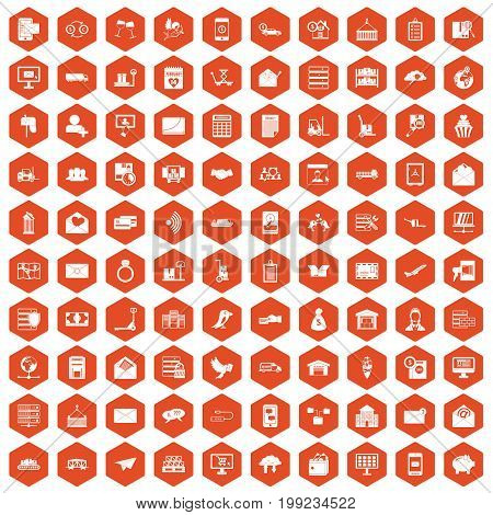 100 postal service icons set in orange hexagon isolated vector illustration