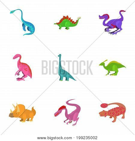 Different type of dinosaur icons set. Cartoon set of 9 different type of dinosaur vector icons for web isolated on white background
