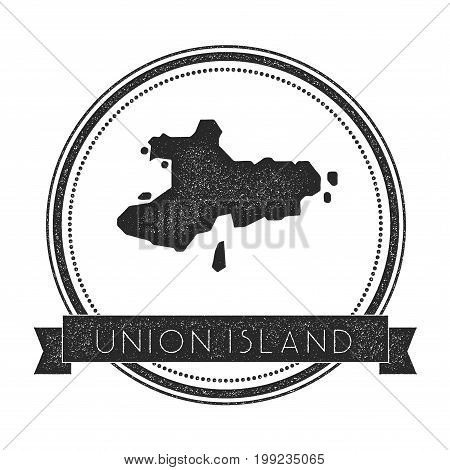 Union Island Map Stamp. Retro Distressed Insignia. Hipster Round Badge With Text Banner. Island Vect