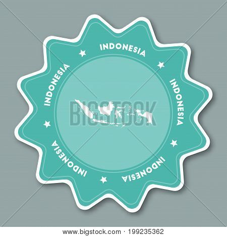 Indonesia Map Sticker In Trendy Colors. Star Shaped Travel Sticker With Country Name And Map. Can Be