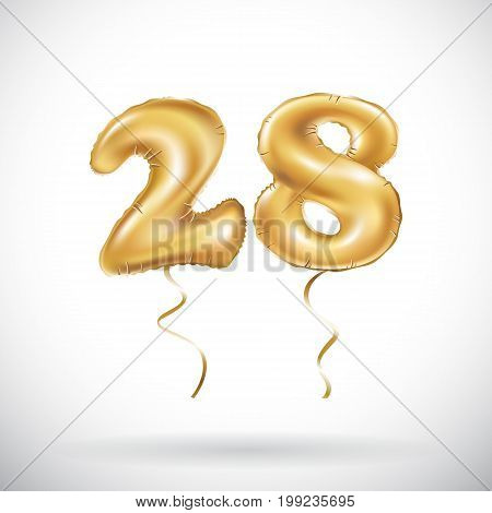 Vector Golden Number 28 Twenty Eight Metallic Balloon. Party Decoration Golden Balloons. Anniversary
