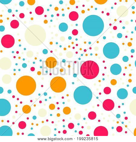 Colorful Polka Dots Seamless Pattern On Black 18 Background. Magnificent Classic Colorful Polka Dots