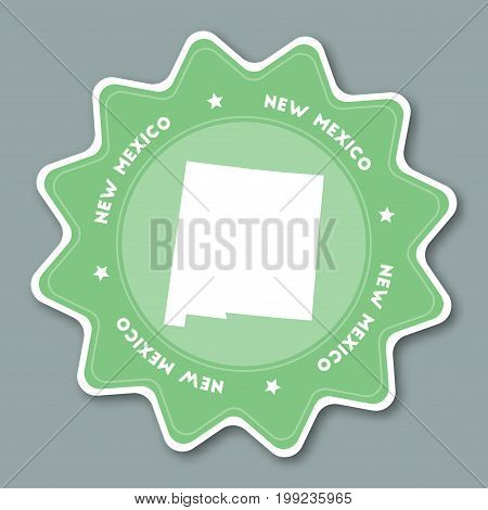 New Mexico Map Sticker In Trendy Colors. Travel Sticker With Us State Name And Map. Can Be Used As L