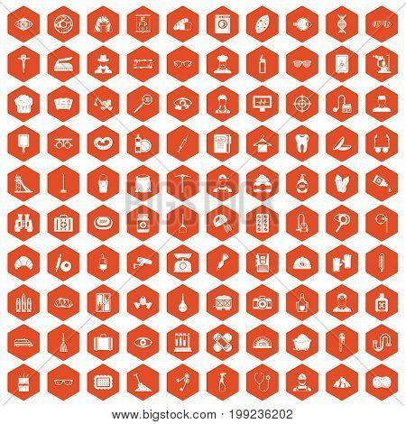 100 profession icons set in orange hexagon isolated vector illustration