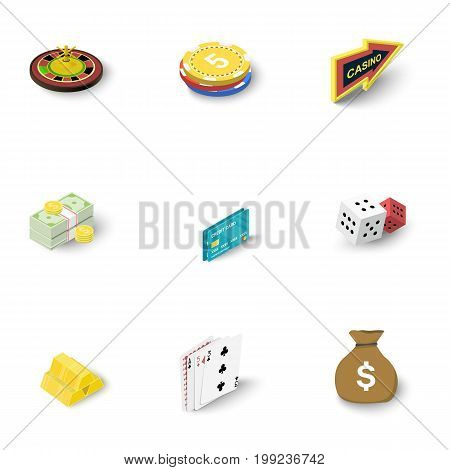 Online casino icons set. Isometric set of 9 online casino vector icons for web isolated on white background