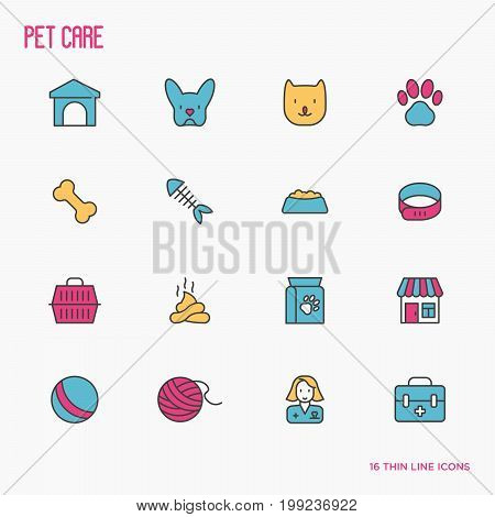 Pet care thin line icons of dog, cat, accessories, food, toys. Vector illustration for banner or web page for vet clinic, pet shop or shelter.