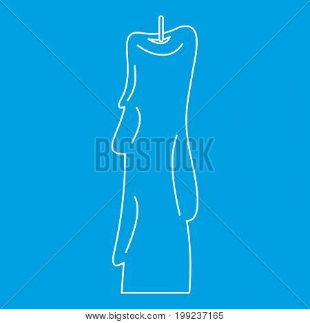 Wax candle icon blue outline style isolated vector illustration. Thin line sign
