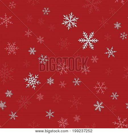 White Snowflakes Seamless Pattern On Red Christmas Background. Chaotic Scattered White Snowflakes. M