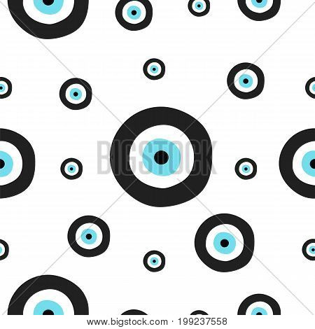 seamless tileable texture with greek evil eye in black and turquoise colors - symbol of protection